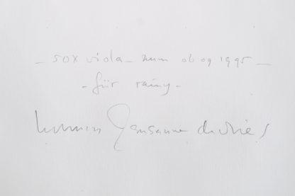 Herman de Vries, (1931), 50 x viola zum 06.09.95, 1995.
