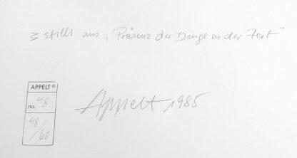Dieter Appelt (1935), Präsenz der Dinge in der Zeit, 1985/2005.