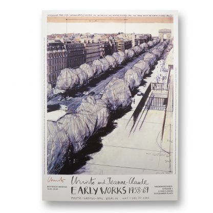 """Exhibition poster: Christo (1935) & Jeanne-Claude (1935 - 2009), Early Works, 1958-1969, """"Wrapped Trees"""", 2001."""